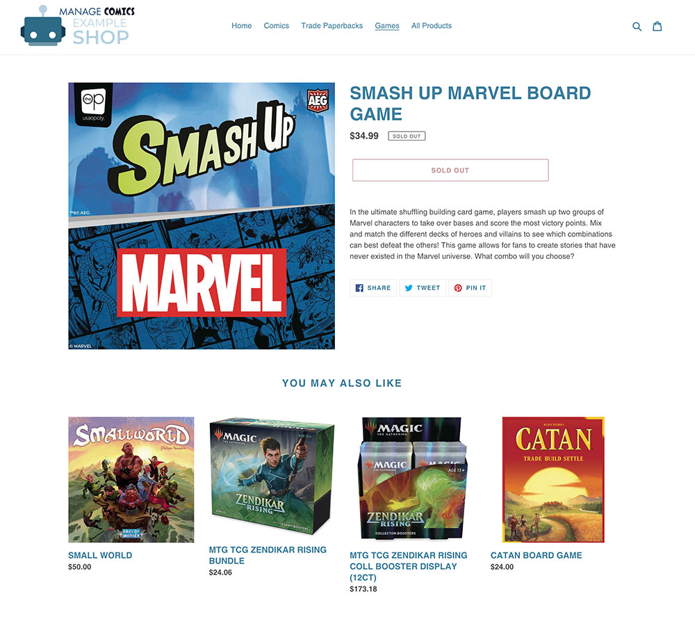 Manage Comics Example Shop gaming product.